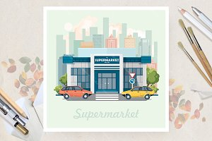 Supermarket in flat vector design