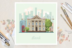 Bank in flat vector design