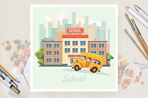 School in flat vector design