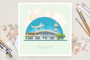 Airport in flat vector design