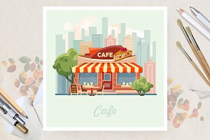 City cafe in flat vector design