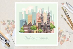 Old city center in flat vector desig