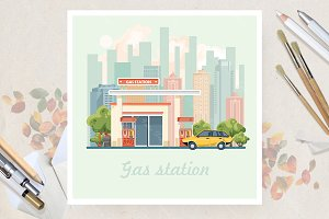 Gas station in flat vector design