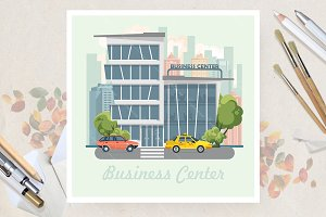 Business center in flat vector desig