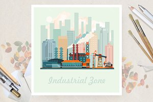 City factory in flat vector design