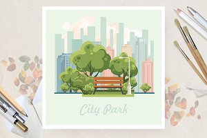 City park in vector