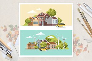 Green city. Eco city life in vector