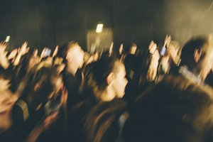 People in motion at concert
