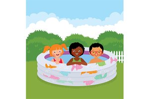 Group of children in an inflatable p