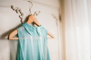 Mint dress on a hanger