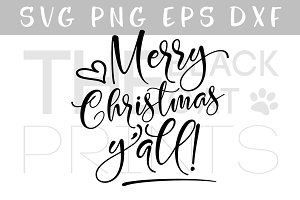 Merry Christmas Yall SVG DXF PNG EPS