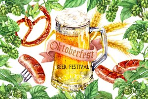 Watercolor Oktoberfest Set