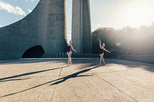Female ballet dancers practicing