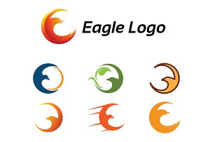 7 Crescent Eagle and Bird Logo