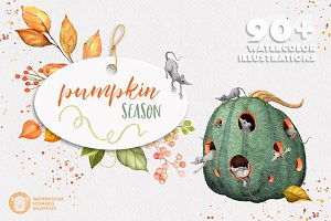 Pumpkin Season Watercolor Collection