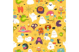 Seamless pattern ghosts and monsters halloween