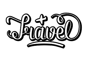 word travel lettering illustrations creative market