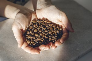 Woman Holding Coffee Beans