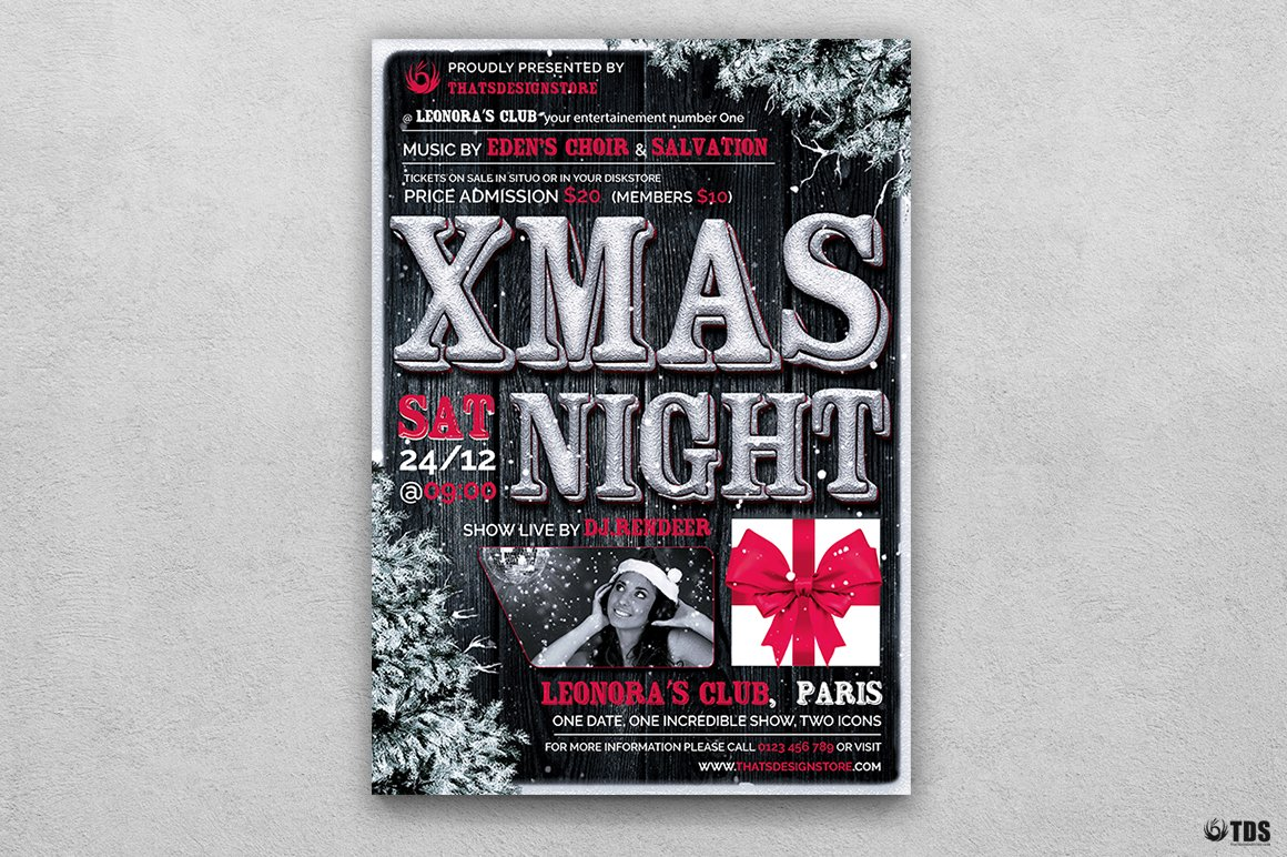 Christmas Eve Flyer Template V7 Flyer Templates Creative Market