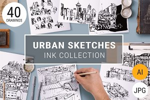 40 B&W Urban Sketches + Pattern