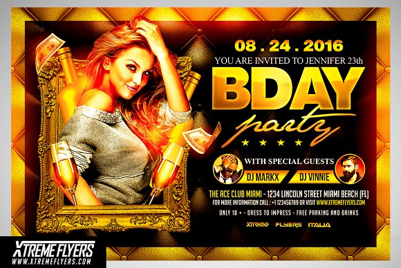 Birthday Party Flyer Template Flyer Templates Creative Market