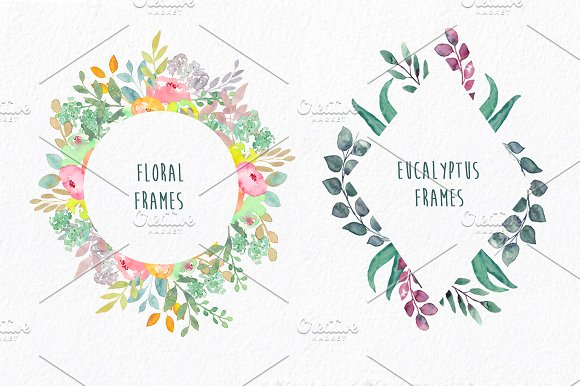 Embellished Frames: flowers & leaves ~ Illustrations ~ Creative Market