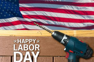Happy Labor Day background with deck and drill