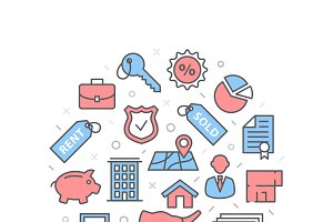 Mortgage Illustration with icons