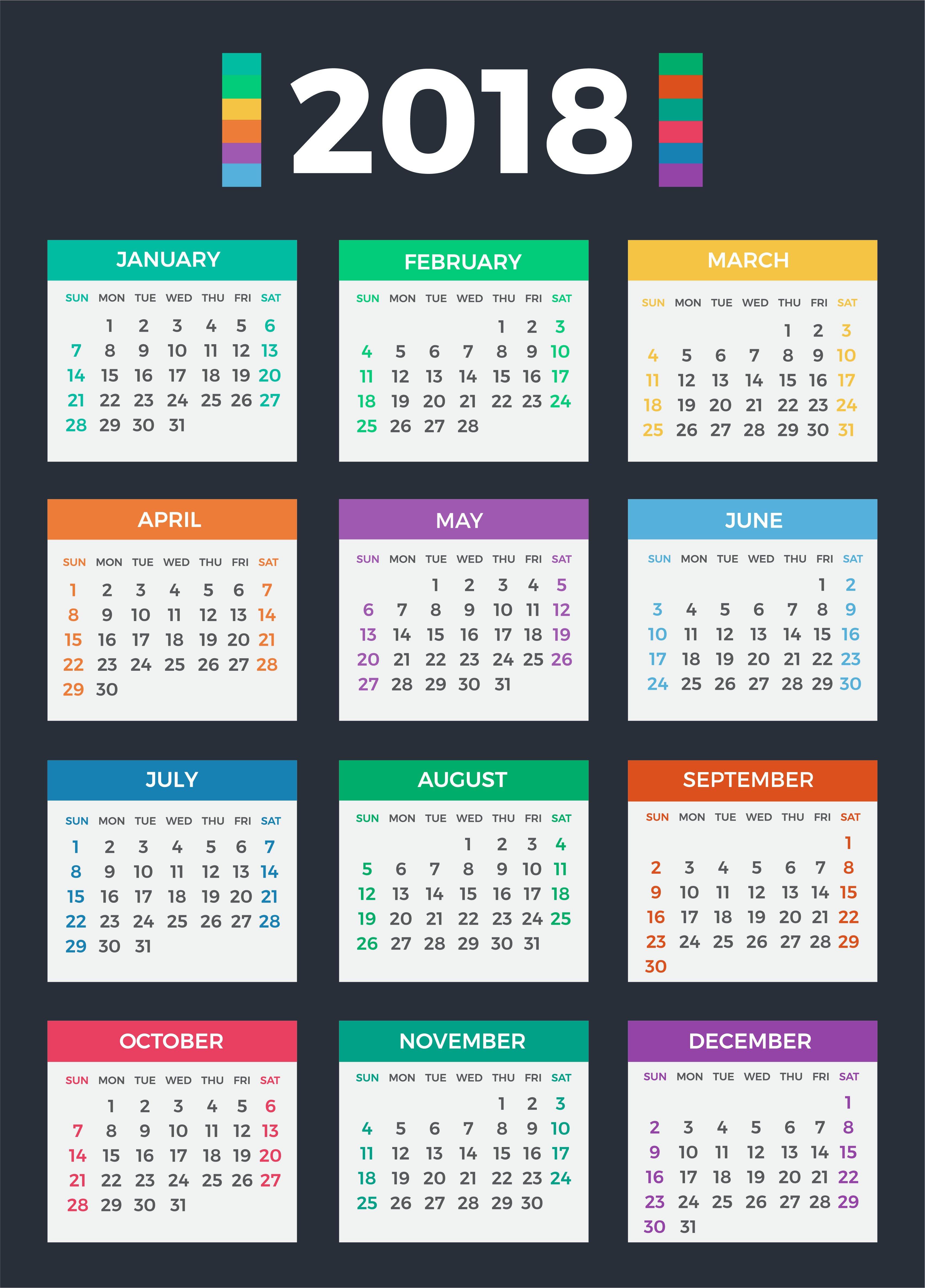 Calendar 2018 ~ Illustrations ~ Creative Market