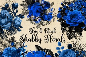 Blue and Black Shabby Floral Clipart