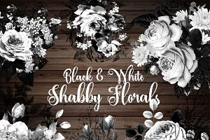 Black and White Shabby Florals