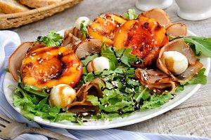 Salad of ham, nectarine  mozzarella