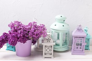 Lilac flowers and lanterns