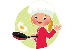Chef flipping an fried eggs or a ome