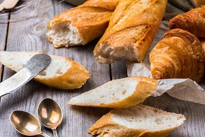 French baguette with butter for breakfast