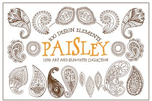 Boho Paisley Line Art Illustrations