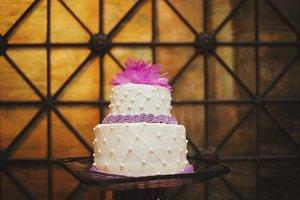 White & Fuchsia Floral Wedding Cake