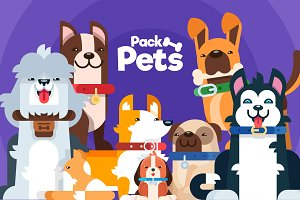 Pack Pets, color. Full editable!