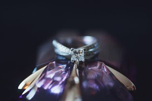 Engagement Ring & Purple Glass