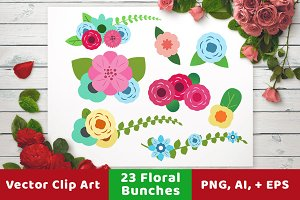 Floral Bunches Wedding Clipart