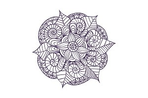 Mandala. Decorative ornament element pattern. Hand drawn ethnic tribal background template.