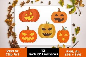12 Jack O' Lanterns Clipart