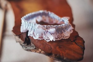 Pale Blue Lace Bridal Garter