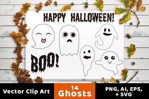 14 Ghosts Clipart, Halloween Clipart