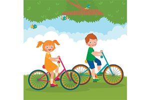 Children ride on the bike