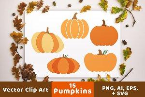 15 Pumpkins Clipart, Fall Clipart