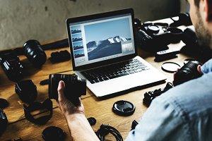 Photographer setting camera