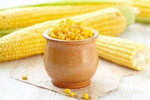 Canned Corn in a bowl