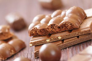 Pile of chocolate with nuts