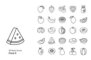 Fruit II outlines vector icons